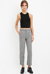 Forever 21 Wool Blend Plaid Trousers Black Cream