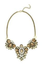 Eye Candy Los Angeles Triple Crystal Necklace Brown