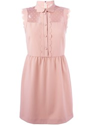 Red Valentino Sleeveless Scalloped Trim Dress Nude And Neutrals