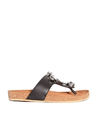 Bertie Jellow Black Leather Embellished Toe Post Flat Sandals