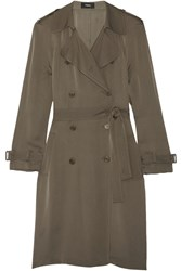 Theory Laurelwood Silk Crepe De Chine Trench Coat Army Green