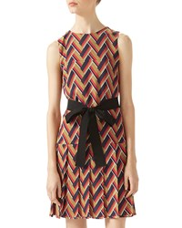 Gucci Chevron Print Pleated Dress Camel Navy Red