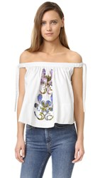 Cynthia Rowley Embellished Off Shoulder Top White