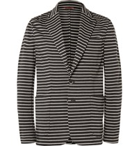 Barena Striped Knitted Virgin Wool Blazer Gray