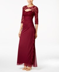 Betsy And Adam Lace Trim Cutout Ruched Gown Garnet