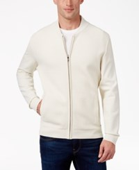 Alfani Collection Men's Lightweight Waffle Knit Sweater Jacket Bright White