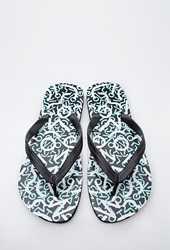 Forever 21 Abstract Print Flip Flops Black