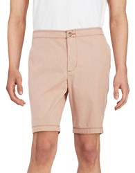 Black Brown Striped Cotton Shorts Antica Red