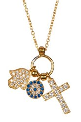 Argentovivo 18K Gold Plated Sterling Silver Cz Hamsa Cross And Evil Eye Cluster Necklace Metallic