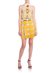 Marco De Vincenzo Fringed Flower Print Dress Yellow