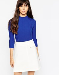 Asos Turtle Neck Jumper In Variegated Rib Blue