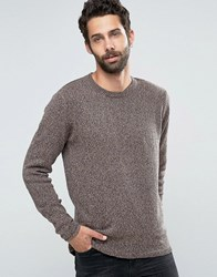 Only And Sons Knitted Flecked Crew Neck Rosewood Red