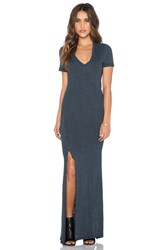 Monrow Vintage Burn Out V Neck Maxi Dress Navy