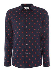 Paul Smith Men's Ps By Slim Fit Heart Print Long Sleeve Shirt Navy