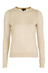 Topshop Pointelle Crew Knit Oatmeal
