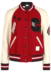 Coach Wool Blend And Leather Varsity Jacket Red