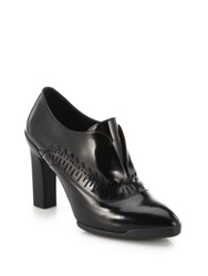 Tod's Spazzolato Laser Cut Leather Booties Black