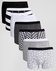 Asos Trunks 7 Pack With Monochrome Print 31 Monochrome Multi