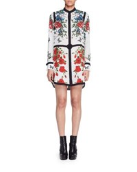 Alexander Mcqueen Long Sleeve Tablecloth Print Crepe Shirtdress White