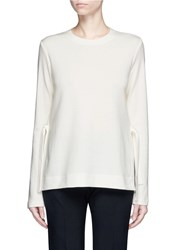 Proenza Schouler Side Tie Wool Blend Jersey T Shirt White