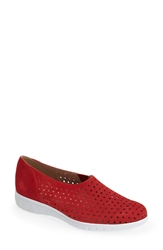 Munro American 'Skipper' Perforated Leather Sneaker Women Red