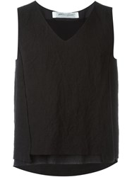Individual Sentiments Layered V Neck Tank Top Black