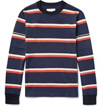 Sacai Striped Cotton Jersey T Shirt Navy
