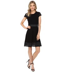 Jessica Simpson Sweater Knit Fit And Flair Dress Black Women's Dress