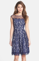 Eliza J Illusion Yoke Lace Fit And Flare Dress Navy