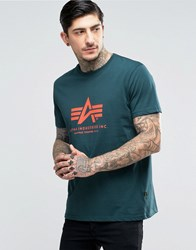 Alpha Industries T Shirt With Logo In Regular Fit Petrol Gr1 Green 1