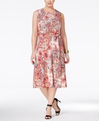 Charter Club Plus Size Paisley Print Fit And Flare Dress Only At Macy's Summer Reef Combo