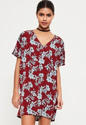 Missguided Burgundy V Neck Floral Shift Dress