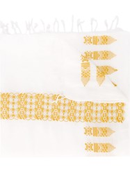 Forte Forte Embroidered Scarf White