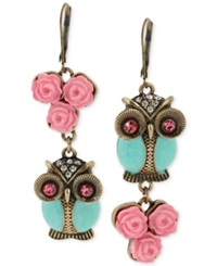 Betsey Johnson Gold Tone Owl Mismatch Earrings