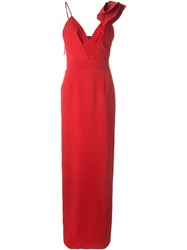 Emanuel Ungaro Floral Jacquard Evening Dress Red