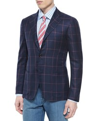 Kiton Cashmere Blend Windowpane Sport Coat Navy Coral Size 46R
