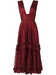 Maria Lucia Hohan Deep V Neck Dress Red