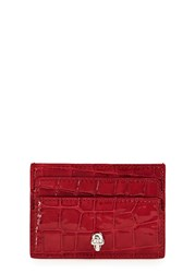 Alexander Mcqueen Red Crocodile Effect Leather Card Holder