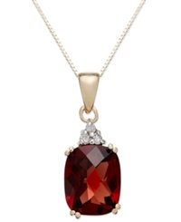 Macy's 14K Gold Garnet 3 1 2 Ct. T.W. And Diamond Accent Rectangle Pendant Necklace
