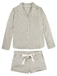 Fat Face Star Print Woven Pyjama Set Grey
