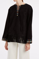Talitha Women S Suede Fringe Top Boutique1 Black