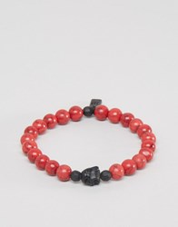 Icon Brand Beaded Bracelet In Red Red