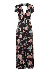 Dusky Vintage Rose Maxi Dress By Oh My Love Black