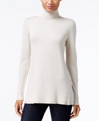 Kensie Pleated Back Turtleneck Sweater Heather Wheat Combo