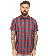 Rvca Akasa Short Sleeve Woven Pompei Red Men's Clothing