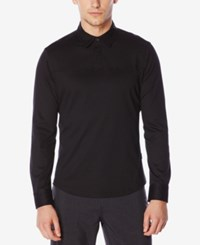 Perry Ellis Men's One Button Long Sleeve Polo Black
