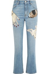 Alexander Mcqueen Obsession Embellished Cropped High Rise Slim Leg Jeans Mid Denim