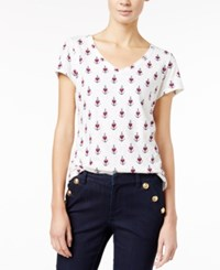 Maison Jules Printed V Neck T Shirt Only At Macy's Egret Combo