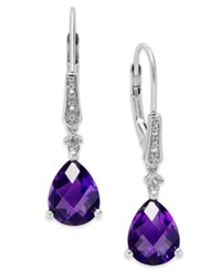 Macy's Amethyst 3 Ct. T.W. And Diamond Accent Drop Earrings In Sterling Silver