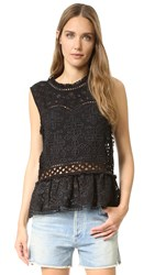 Sea Eyelet And Lace Top Black